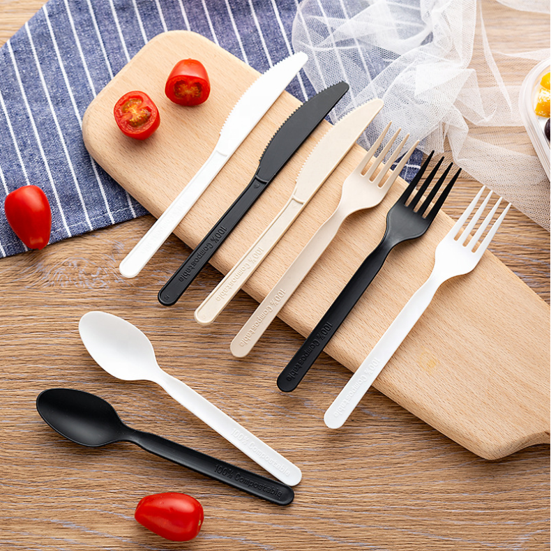 Eco-friendly 100% Biodegradable Compostable CPLA Cutlery Forks Spoons Knives Sets Made from Cornstarch