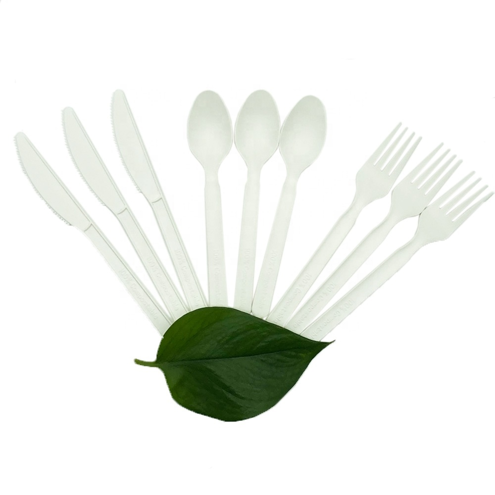 ECO Friendly Compostable PLA Cutlery6 inch flatware compostable cutlery set cpla plastic fork spoon knife