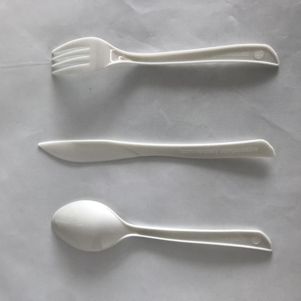 Round Shape Black/White/Customized 100% Biodegradable ECO FriendlyPLA CutleryCompostable Spoons