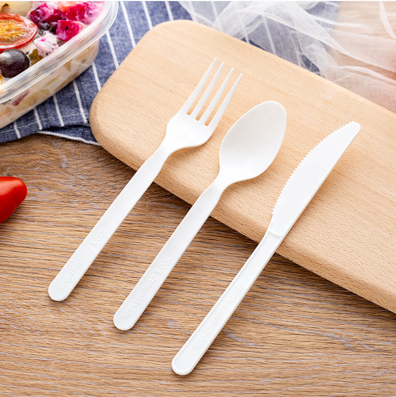 Biodegradable cutlery sets Wholesale CPLA spoon fork knife Compostable disposable cutlery set
