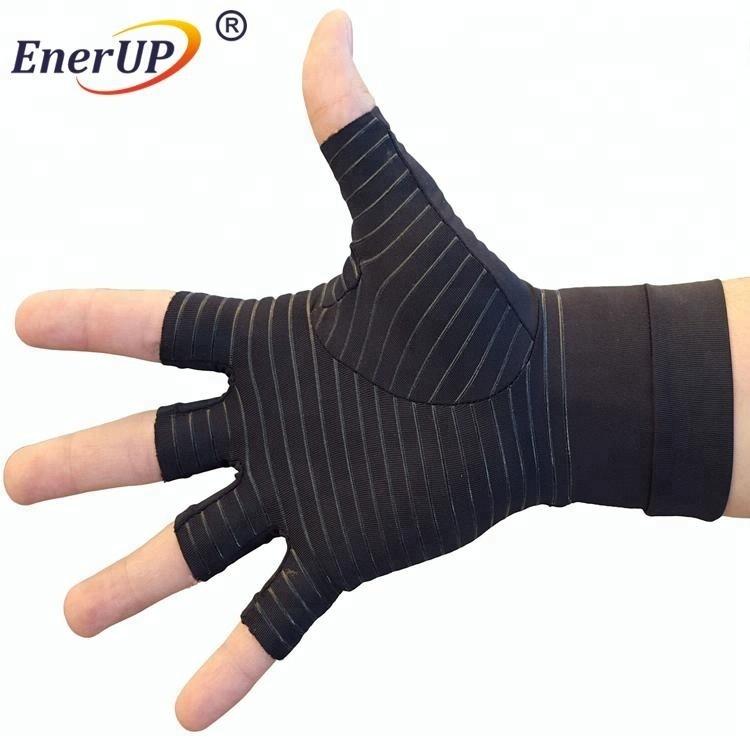 Copper compression arthritis knit half finger gloves