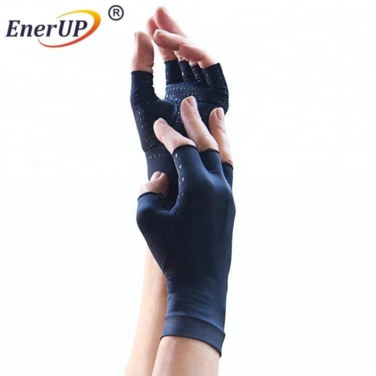 Copper infused compression half finger gloves for men & women