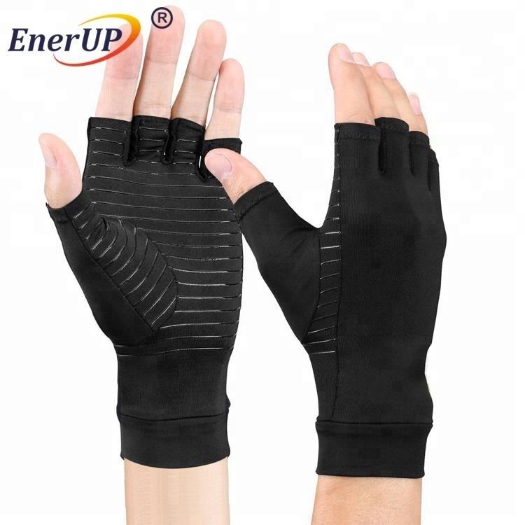 Arthritis gloves with copper half-fingers gloves