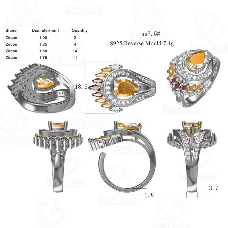Beyaly CAD Custom Jewelry Heteromorphic Stone Coloured Feathered Tribal Ring
