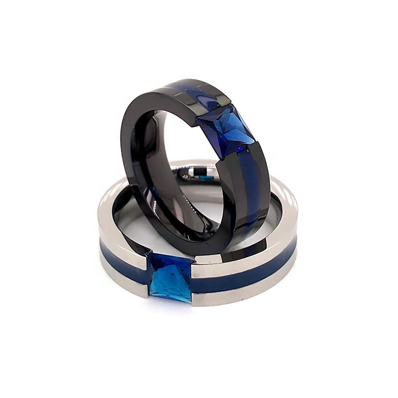 Smooth Blue Stone Christmas Gift Shiny Costume Jewelry Pure Titanium Ring