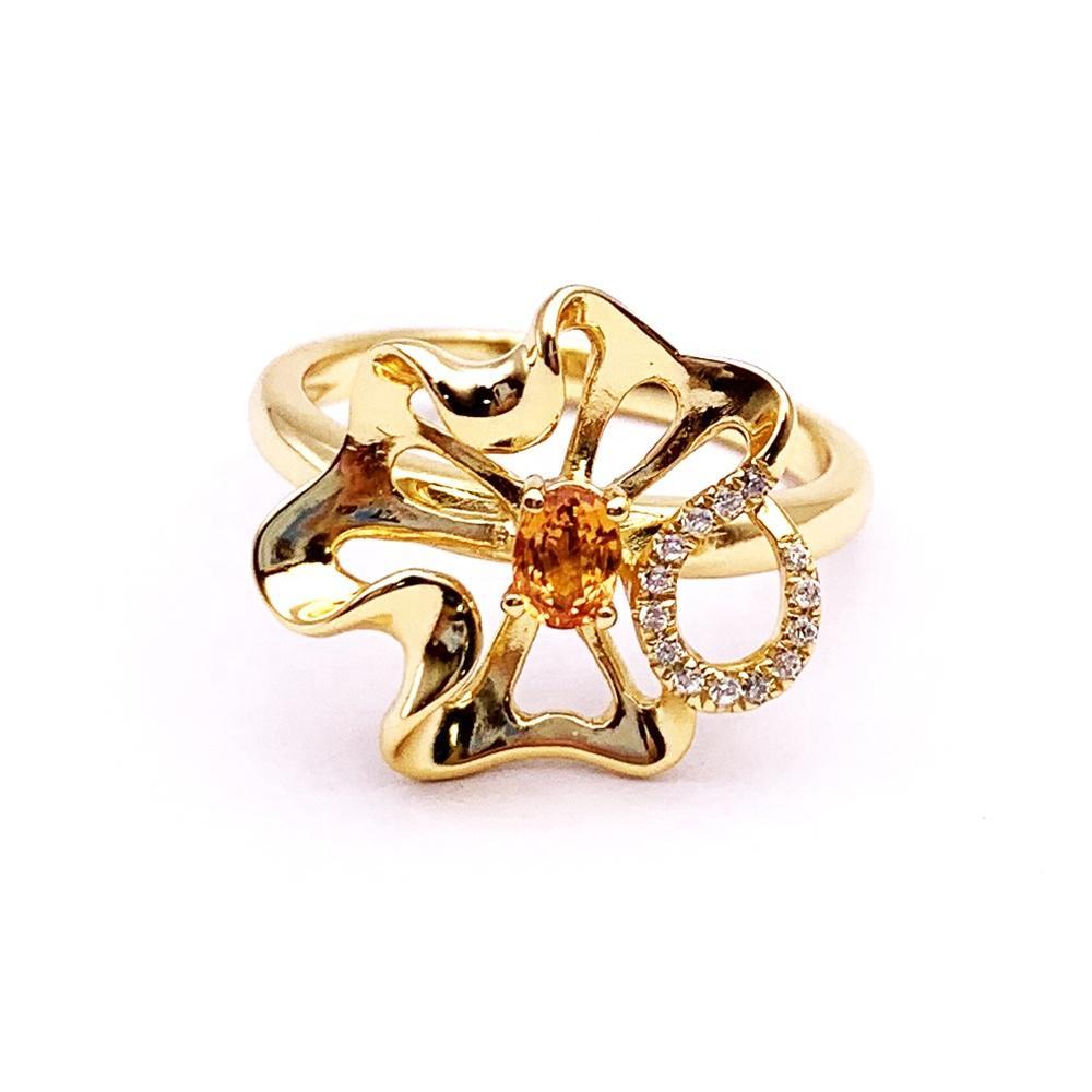 Innovate orange crystal cz stone set 925 sterling silver rings