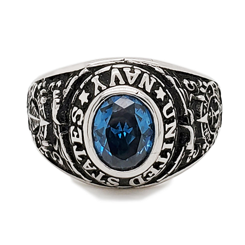 Name engraved students high school blue sapphire ring