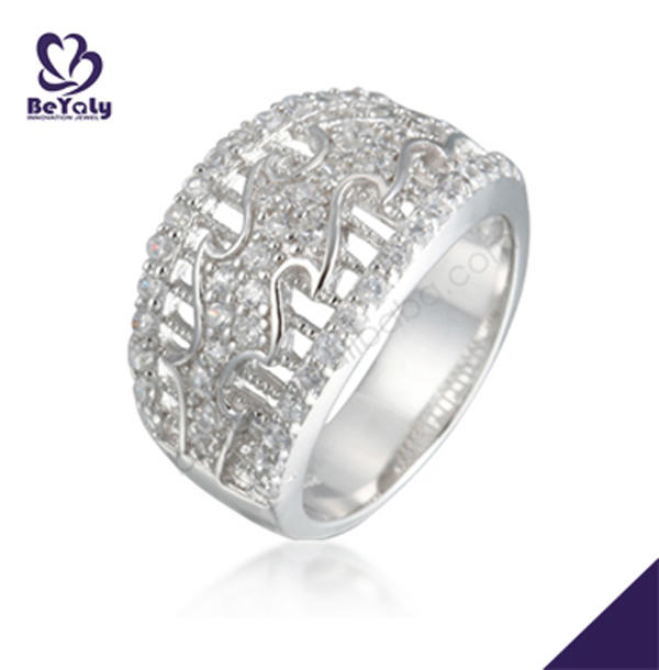 Good quality full pave setting cz 925 silver ring