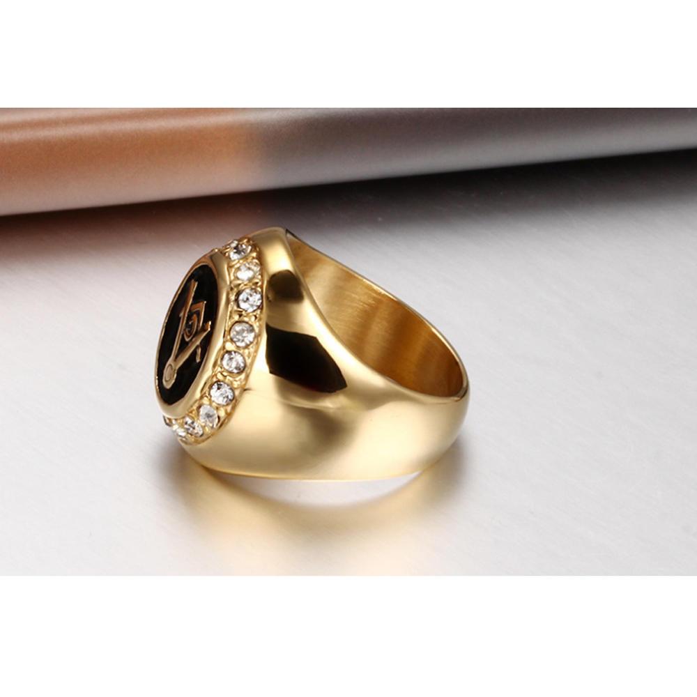 Custom design cubic zircon gold masonic wedding rings