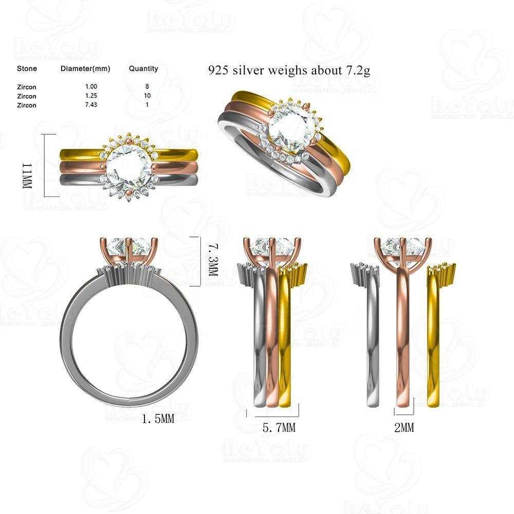 Beyaly CAD Custom Jewelry Three Color Loop Stacking Ring With Zircon