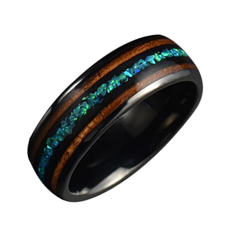 Tungsten Stainless Steel Jewelry Ceramic Inlaid With Double Wood Opal Ring
