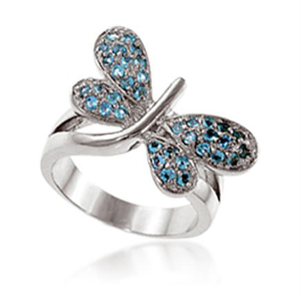 Luxurious Butterfly With Blue Zircon Pure Platinum Rings