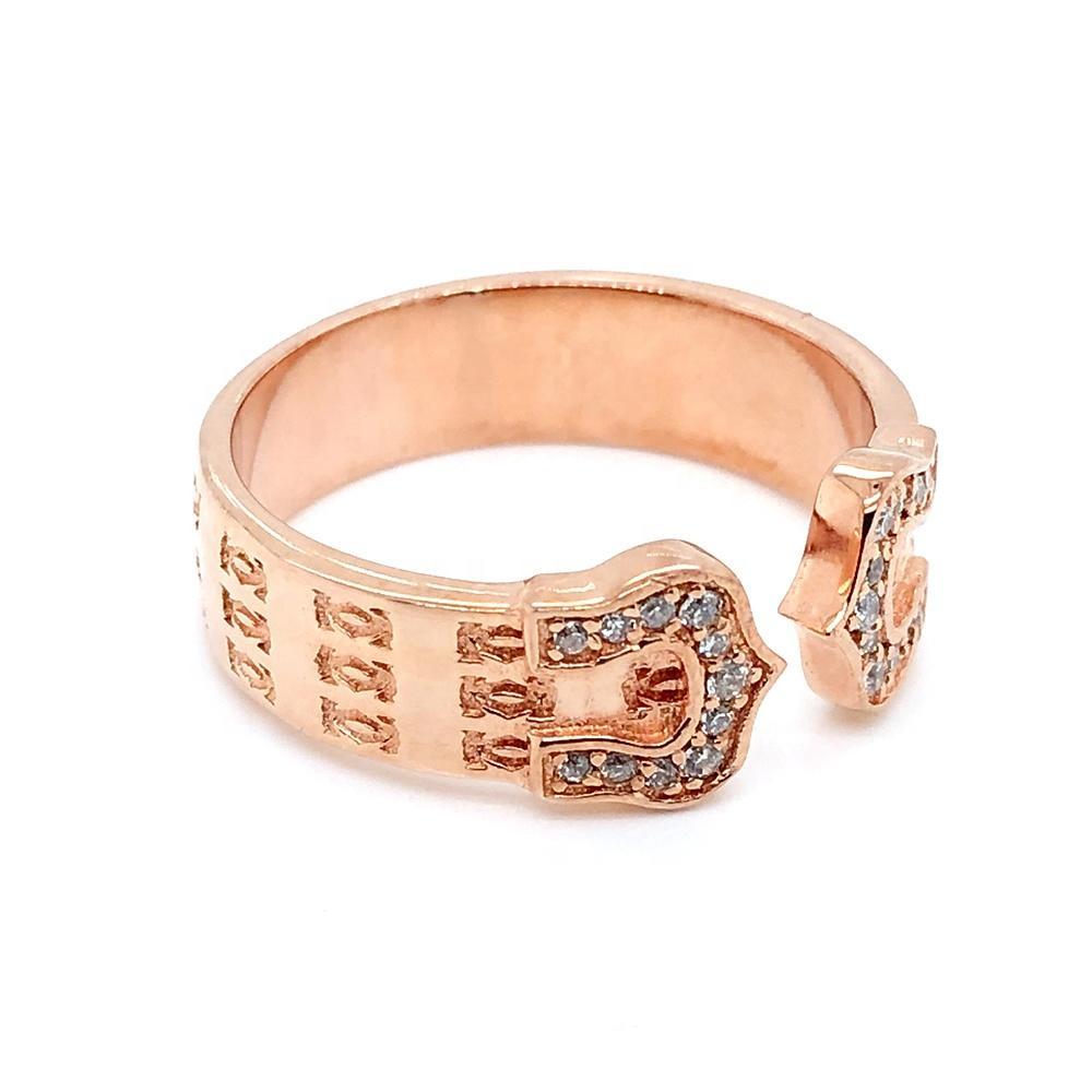 Fashion 925 Silver Ring Rose Gold, Horseshoe Arrow Design Ring Adjustable