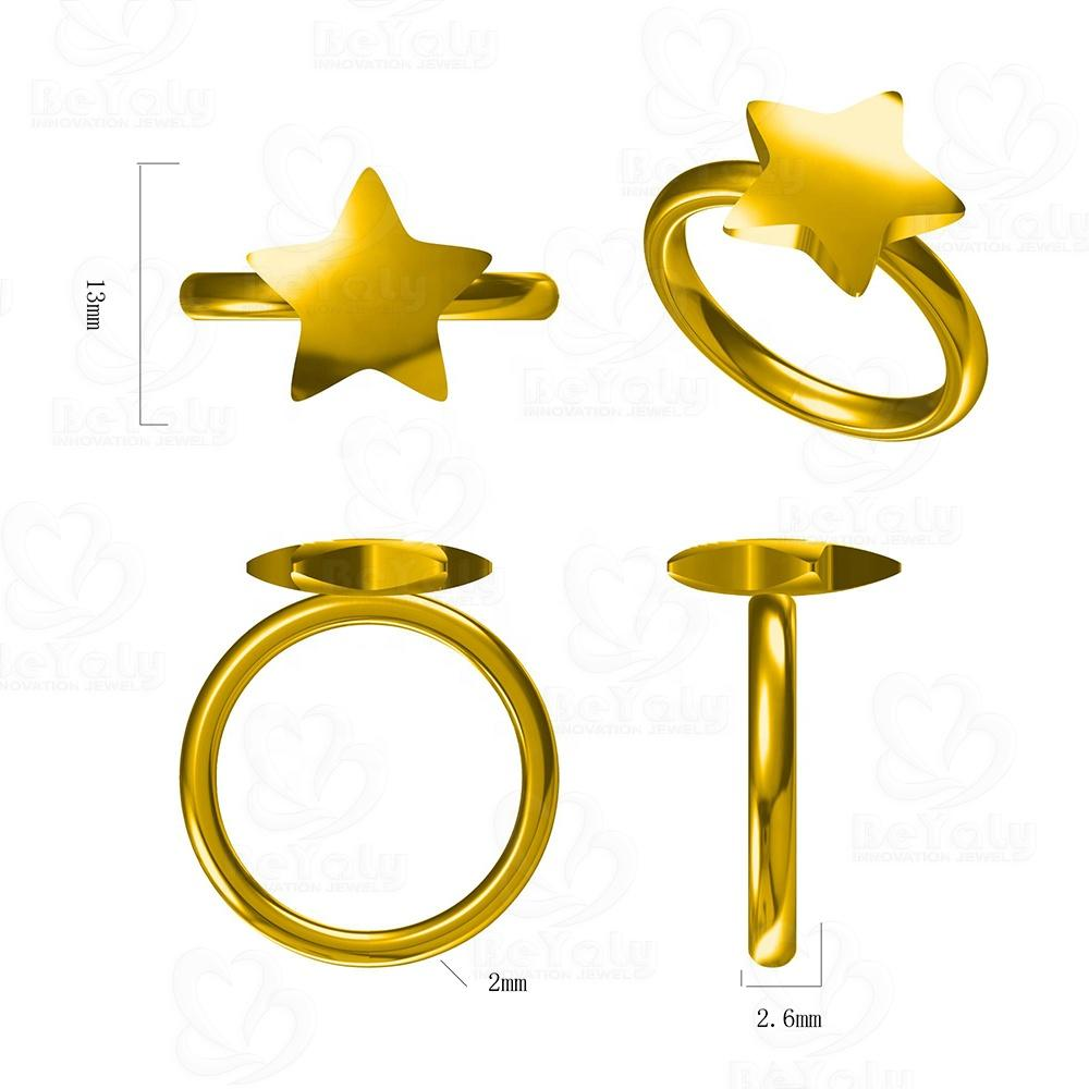 Custom Jewelry Christmas Golden Star Ring Simple Design Jewelry Geometric
