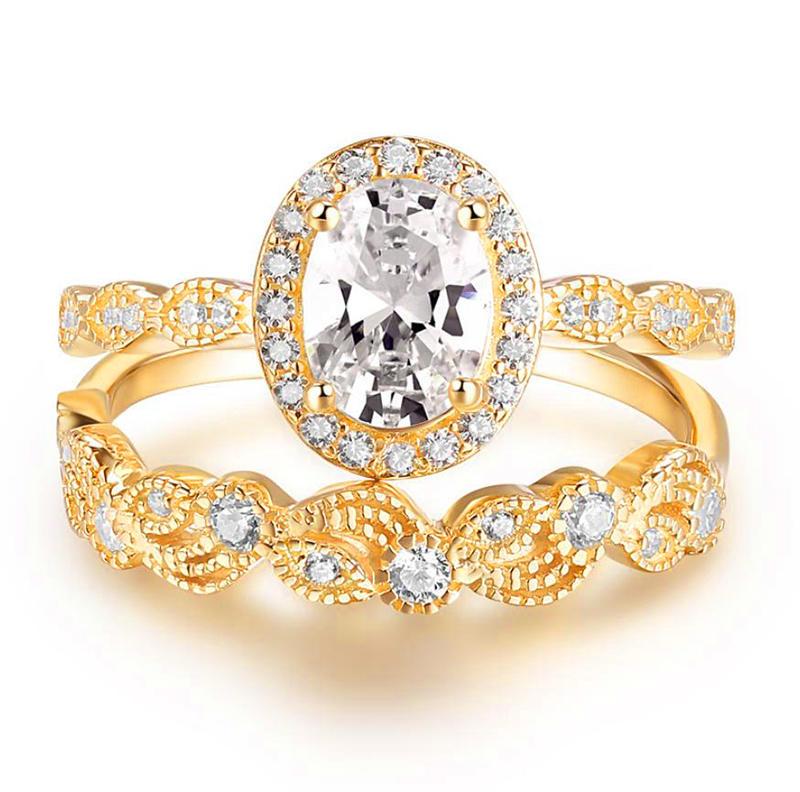 Wedding Ring Gold 18K Plating, Gold Plated Wedding Ring Set, 18K White Gold Ring Jewelry Women Wedding