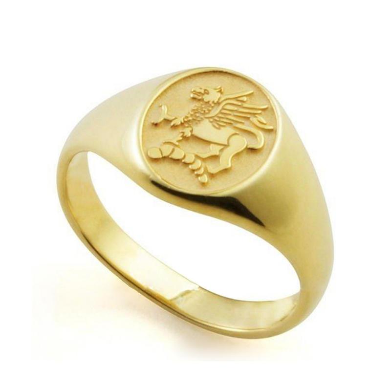 Stylish Stainless Steel Golden Custom Design Signet Rings