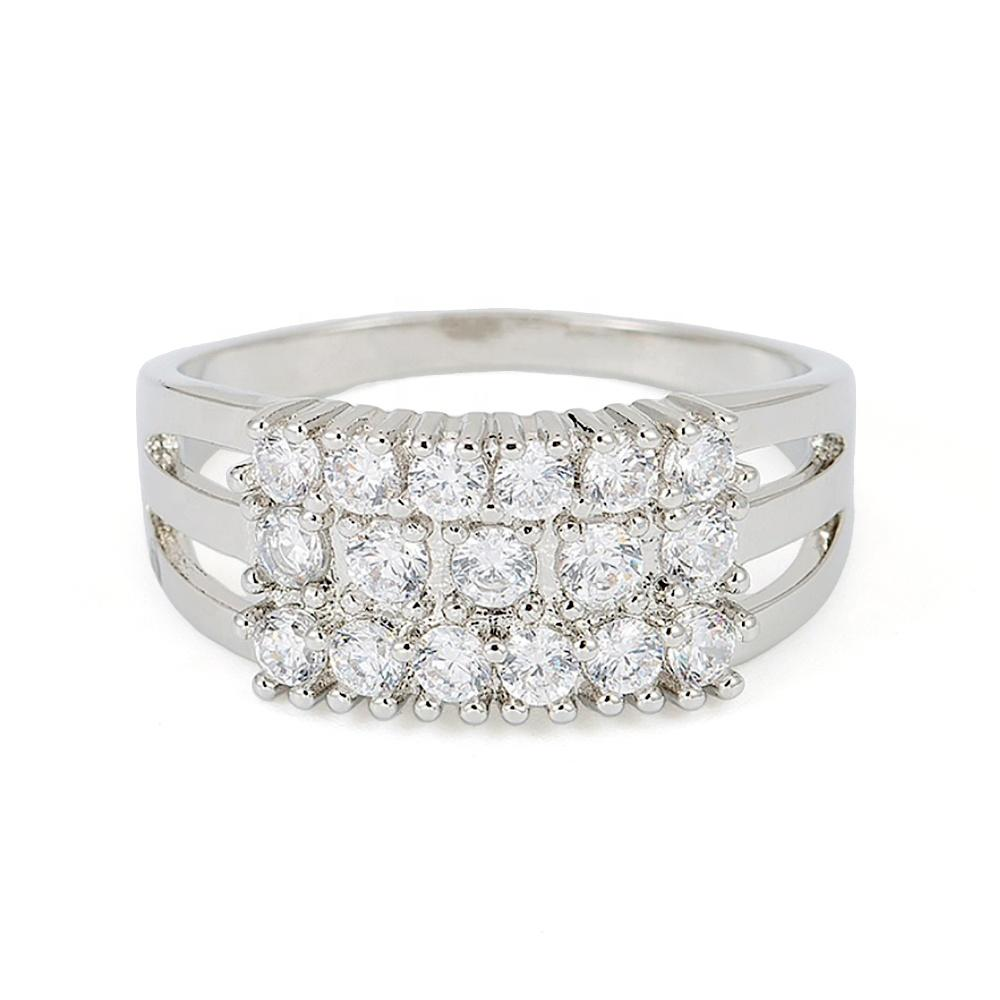 Rhinestone Pave Setting Finger Alloy Ring Jewellery Silver Color