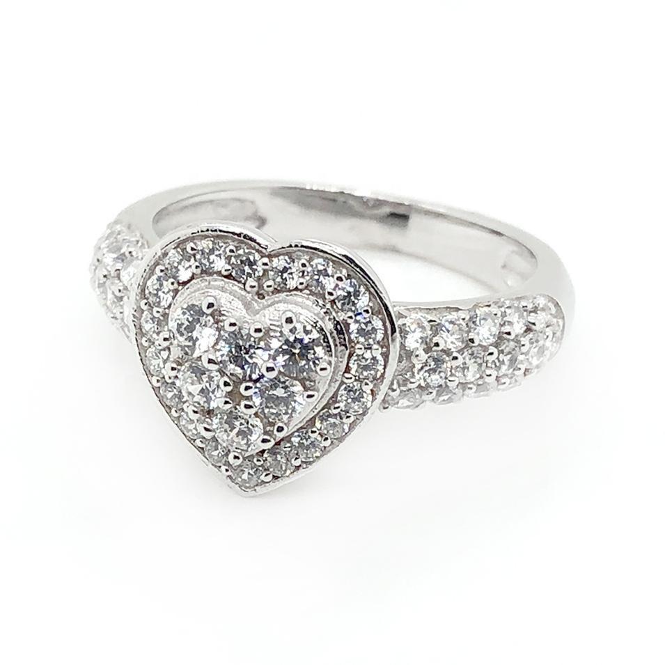 High quality cz heart 5925 silver ring diamond