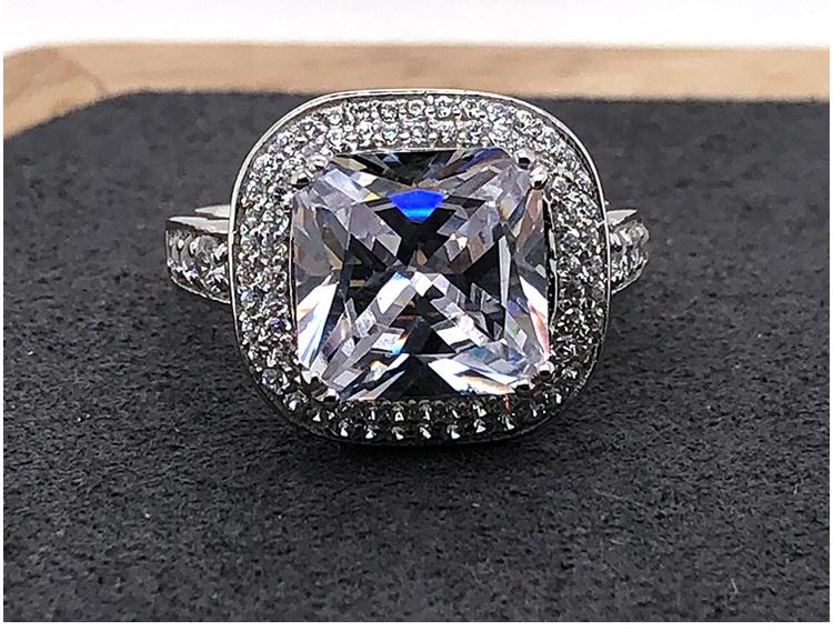 Classic Clear Stone Pave Setting Square Head Silver Ring For Men