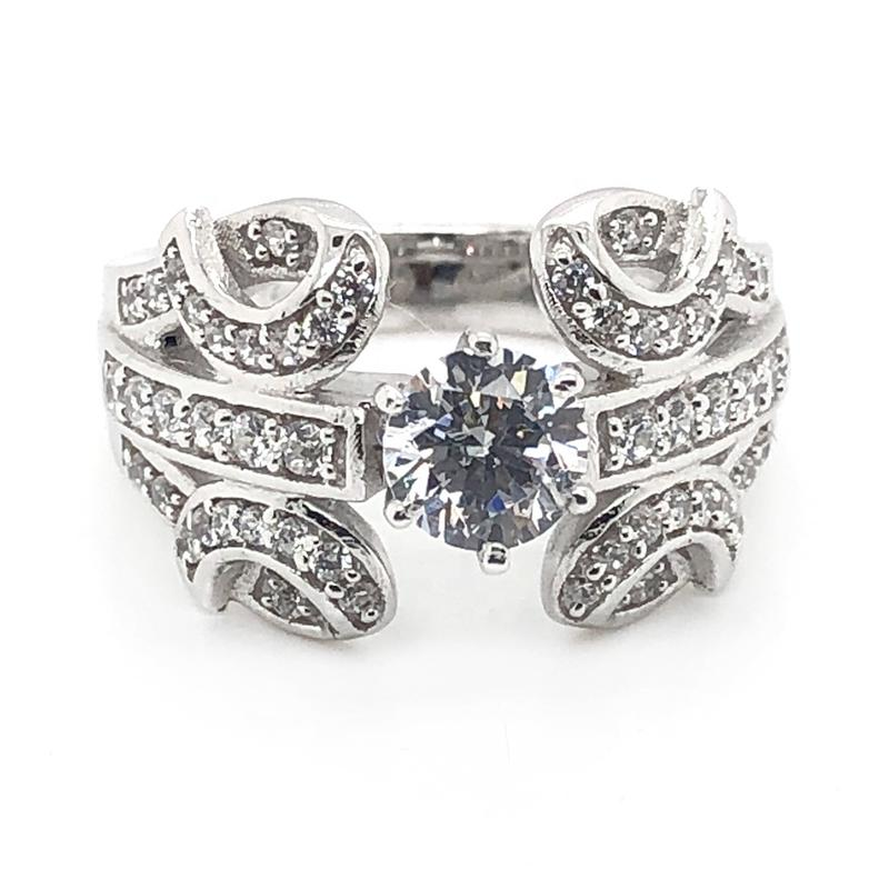 Custom Design Plated Pure White Gold Wedding And Engagement Rings