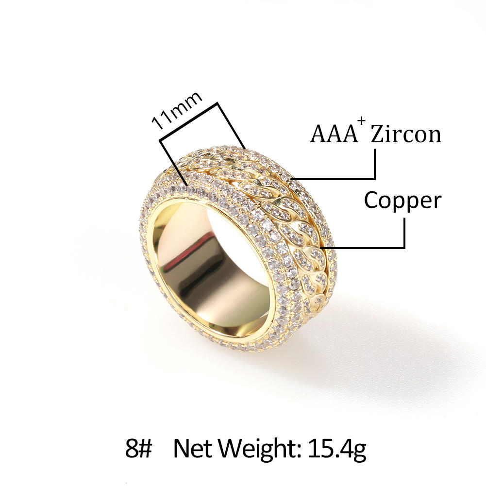 Hip-Hop Micro - Zircon Rotatable Cuban Ring Gold Electroplating