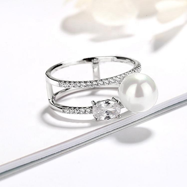 Flower Mount Design Lovely 925 Sterling Silver Pearl Ring Stretch Ring