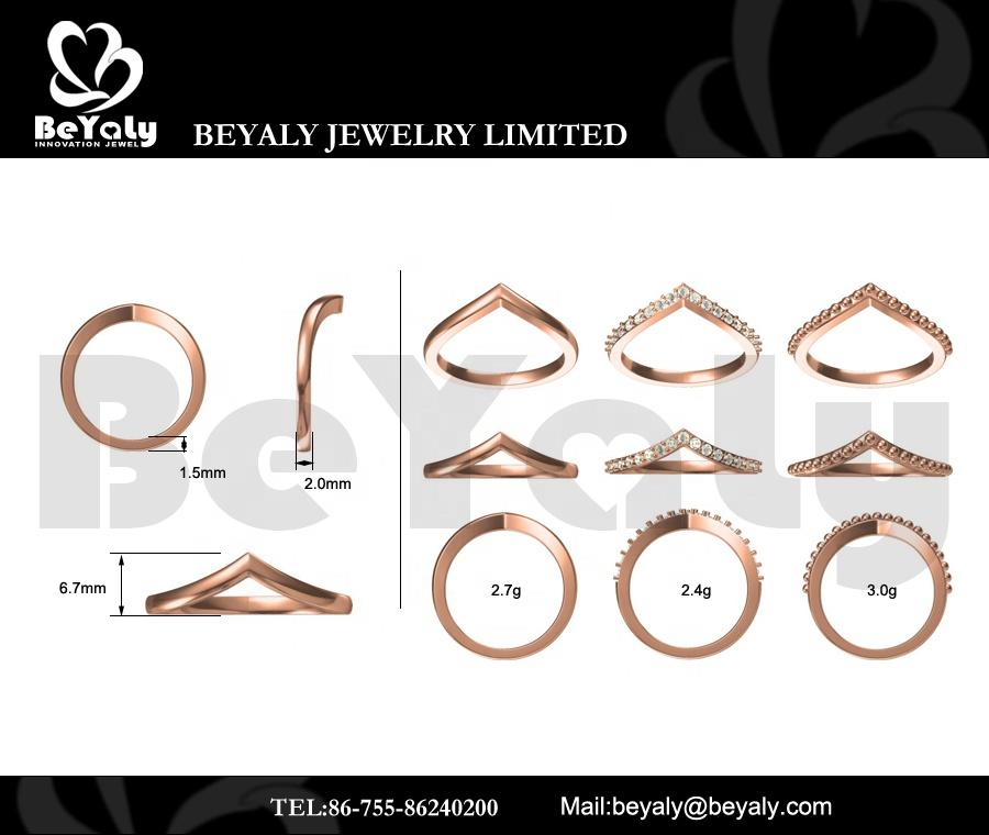 Beyaly CAD Custom Jewelry Stacking Water-Drop Design Ring For Women