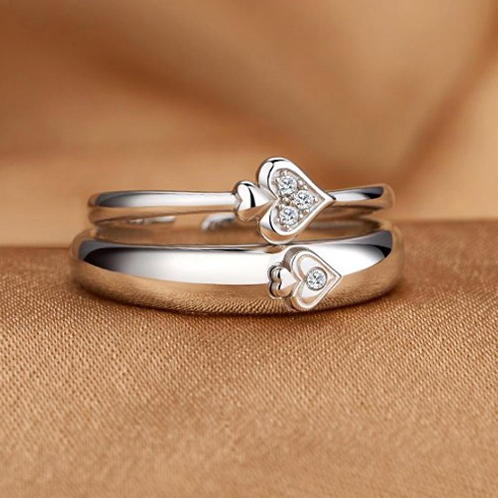 Shiny 925 Silver Triangle Stone Heart Design Stretch Toe Rings