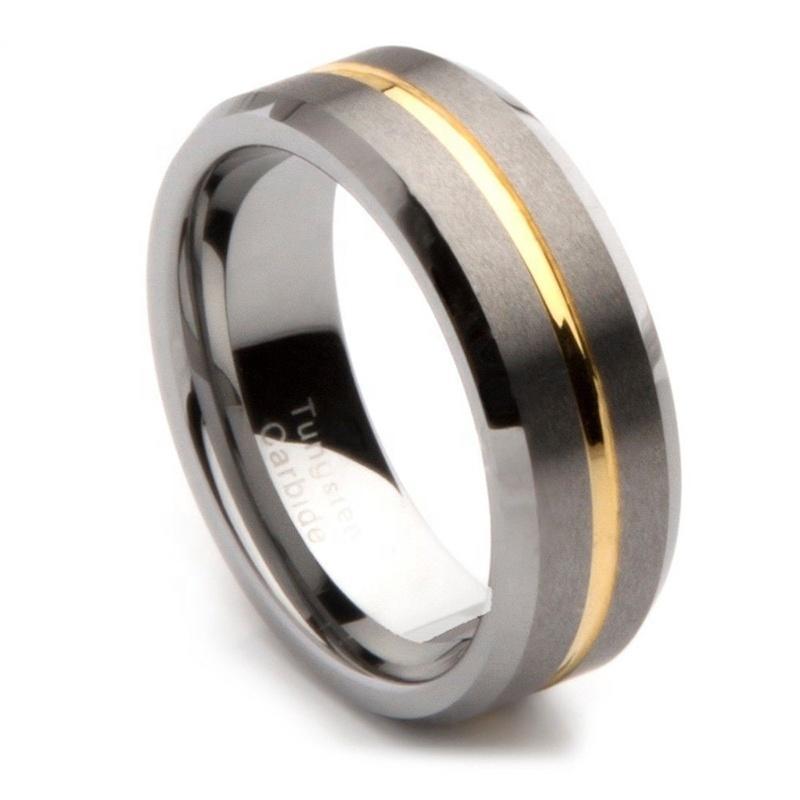 Cheap Men's Dull Polish 18K Golden Jewelry Fashion Tungsten Ring 8mm