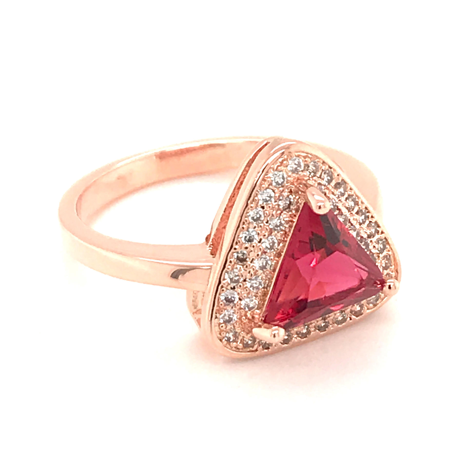 Silver Jewelry Cz Gemstone Natural Red Ruby Rings With Triangle Design
