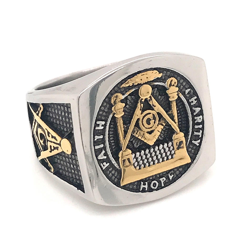 Custom Design Stainless Steel Free-Mason Width Fashion Index Ring