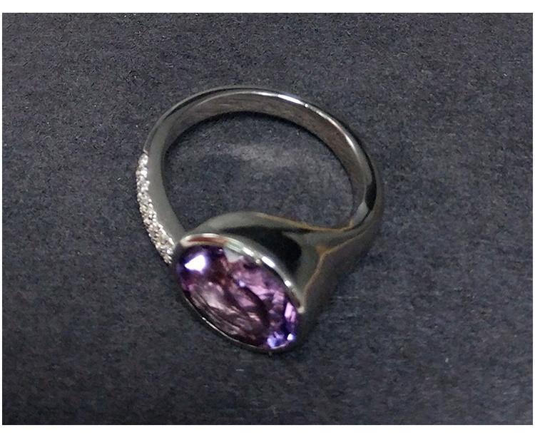 Hot Sale Purple Gem Stone Silver Eye Shape Rings Jewelry Finger Wear