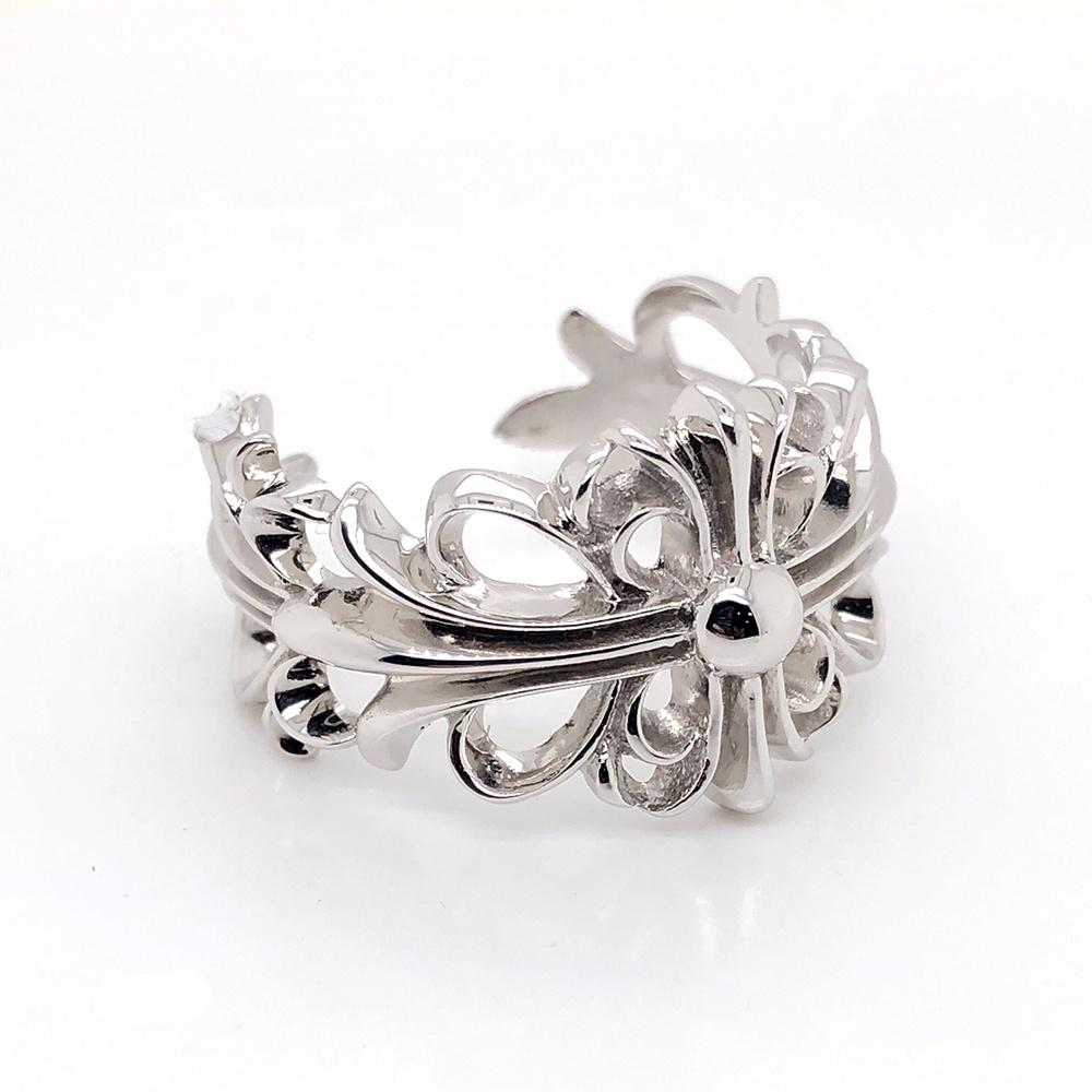 Fancy flower series engraved silver jewelry turkish rings for men