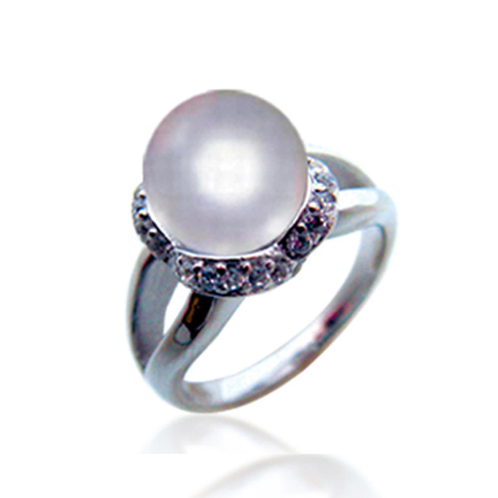 Women gorgeous silver rings artificial pearl jewelry