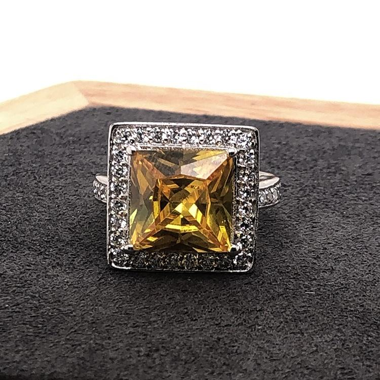 Fancy Yellow Topaz Design Square Silver Bulk Rings