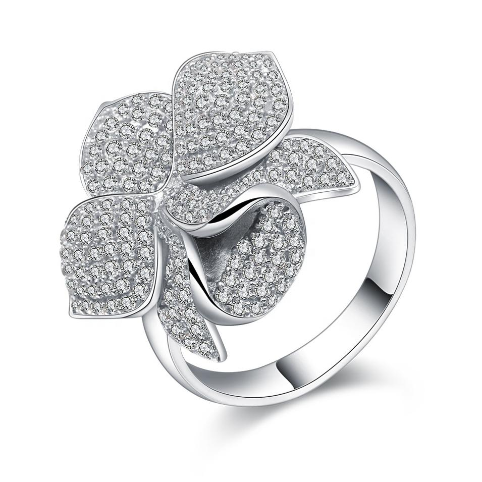 Gorgeous Micro Pave Setting Cz Silver Costume Flower Rings