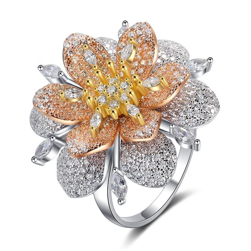 Flower Rose Gold Plated Jewelry S925 Silver Micro Pave Zircon Luxury Party Wedding Ring Girl