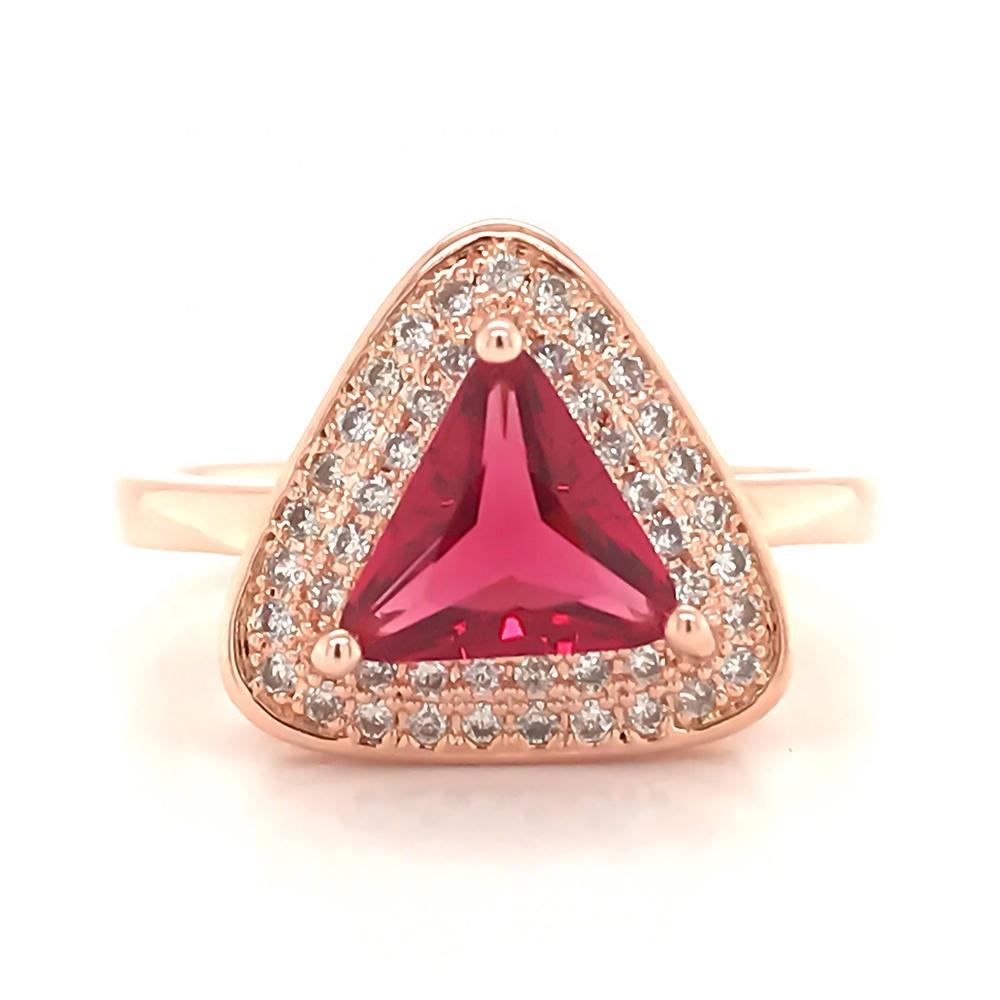 China Direct Supplier Triangle Unisex Silver Bijou Real Ruby Rings