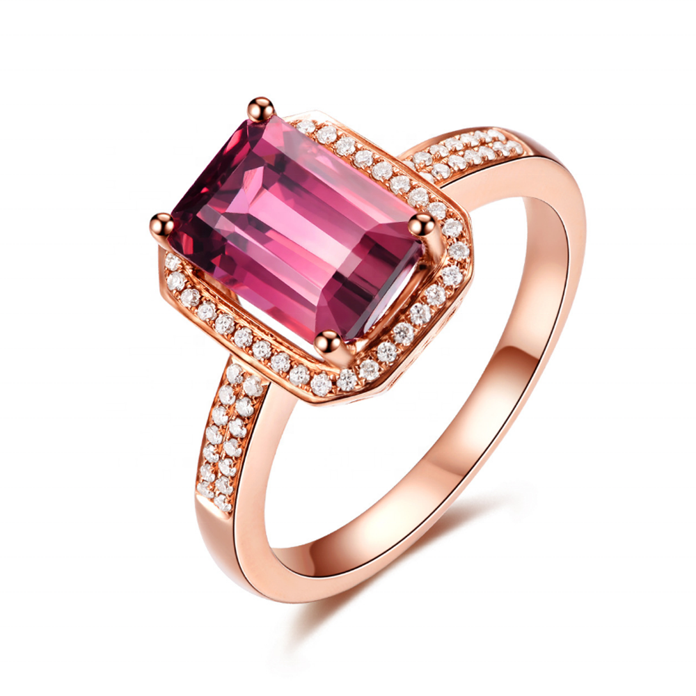 Yellow Gold Plated Pink Stone Silver Classical Style Daily Ring