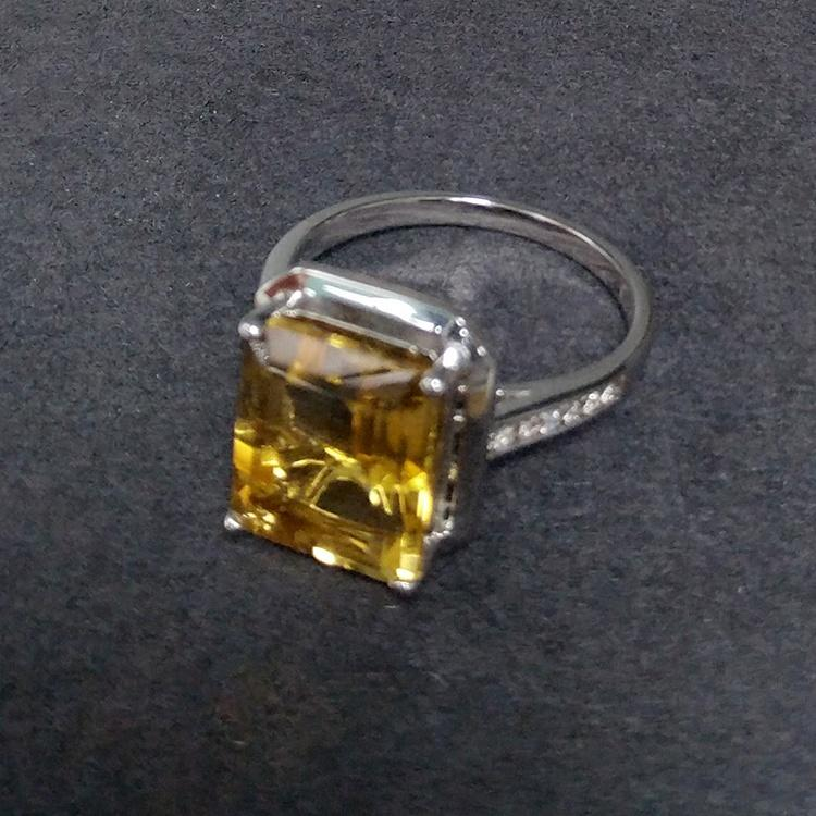 Pave setting yellow topaz silver fashion wedding rings