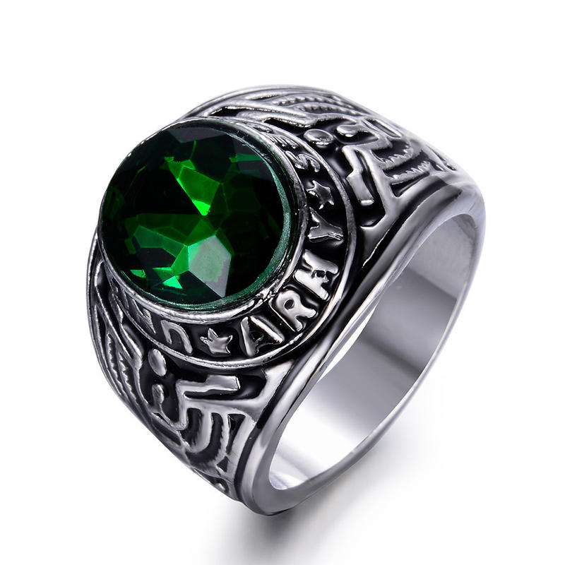 Custom Enemy Victory Us Army Celebrate Ring With Green Zircon