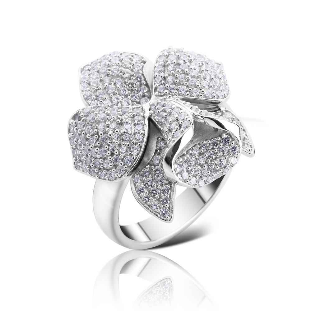 Gorgeous cubic zircon flower cluster design women finger rings