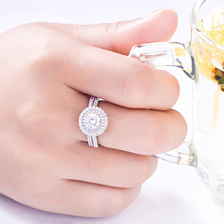 Double Halo Double Round Circle Clear And Pink Cz Silver 925 Wedding Ring