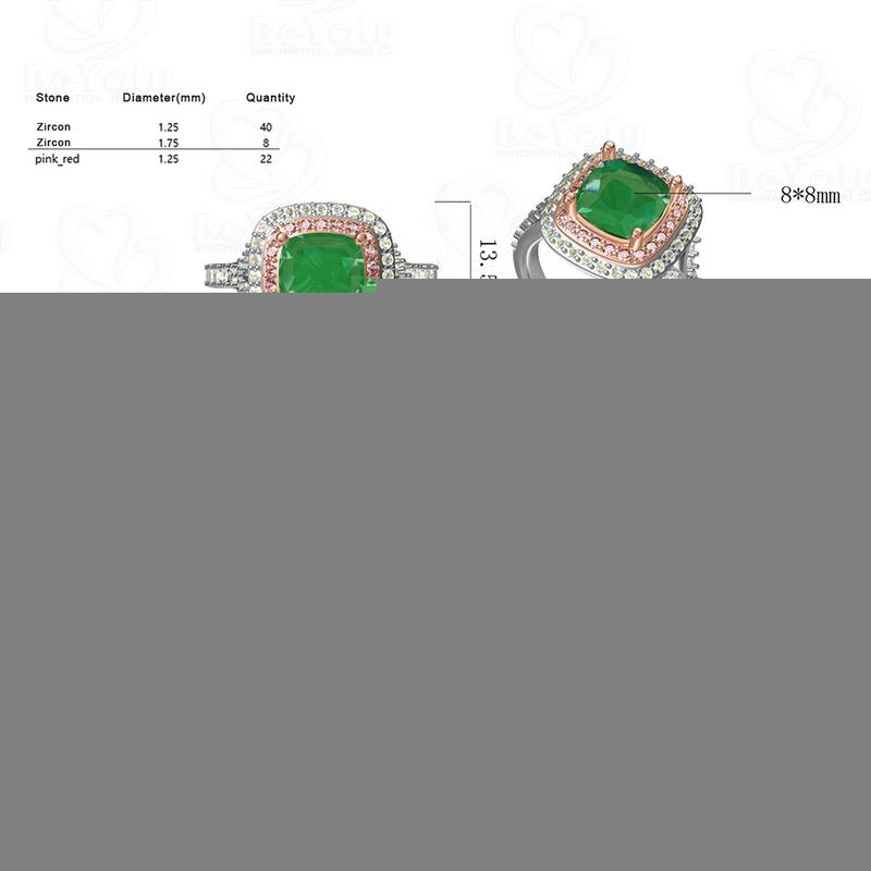 Beyaly CAD Custom Jewelry Tricolor Stone Square Emerald Ring