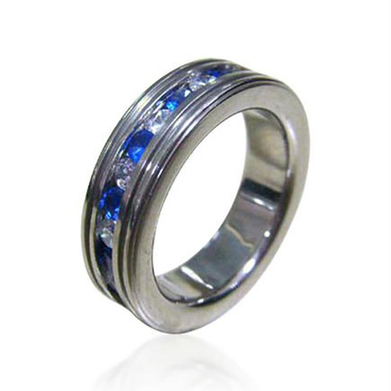 Shiny Titanium Pave Setting Stone Ring Designs For Men