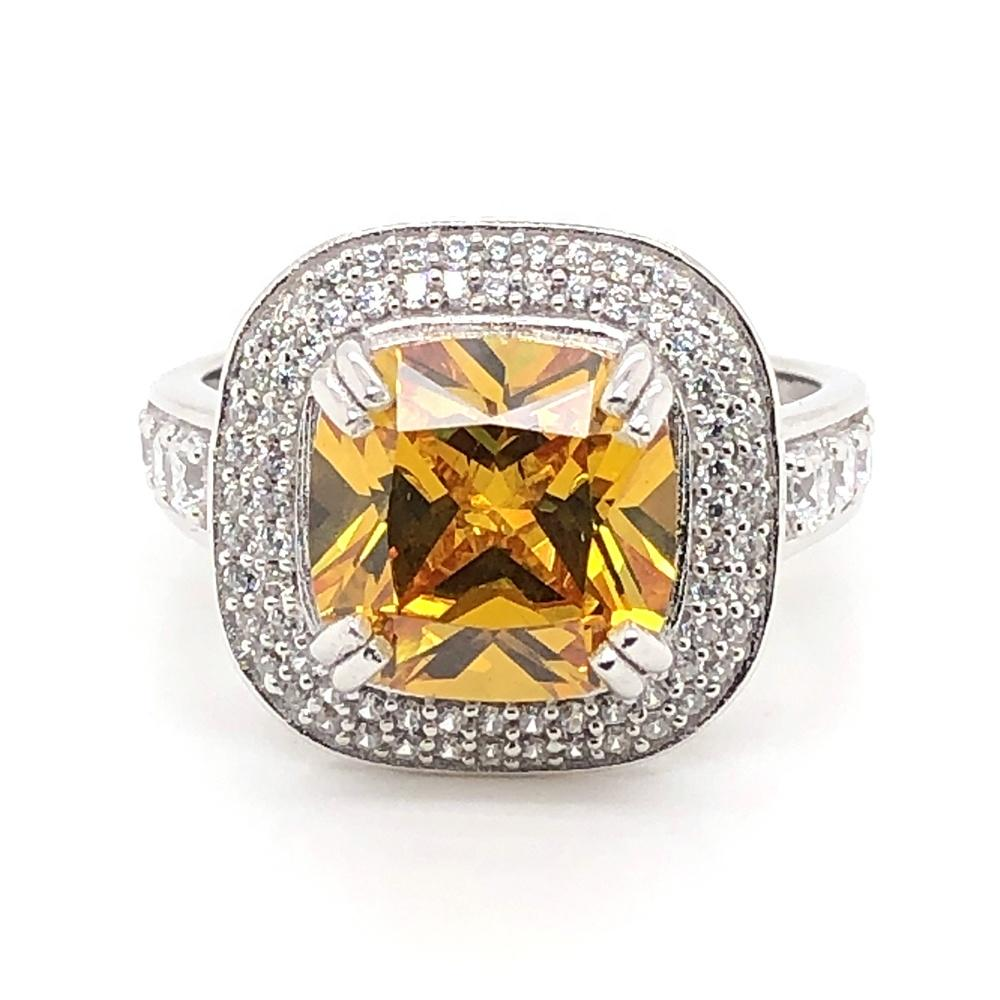 Noble style citrine fashion 925 sterling silver gemstone rings