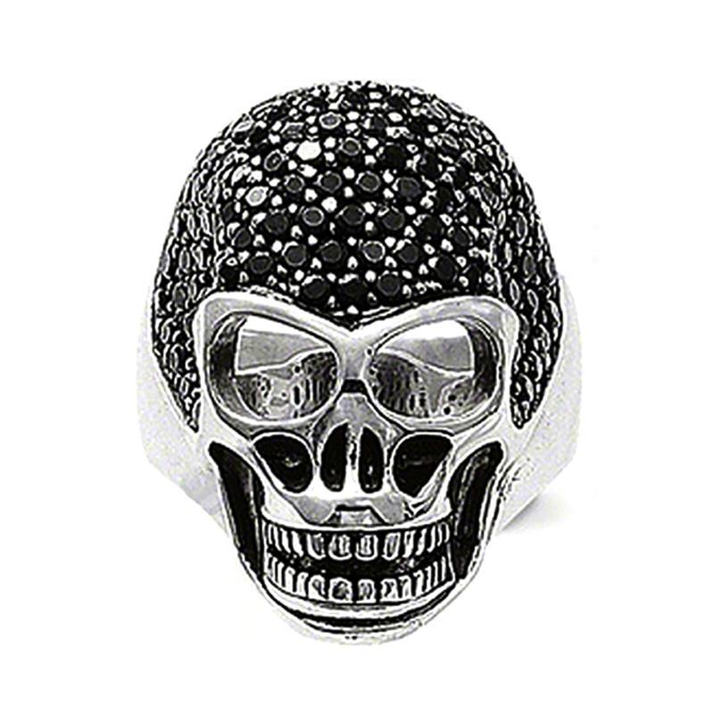 Skull Design Black Stone Appointment Men`S Stainless Steel Ring