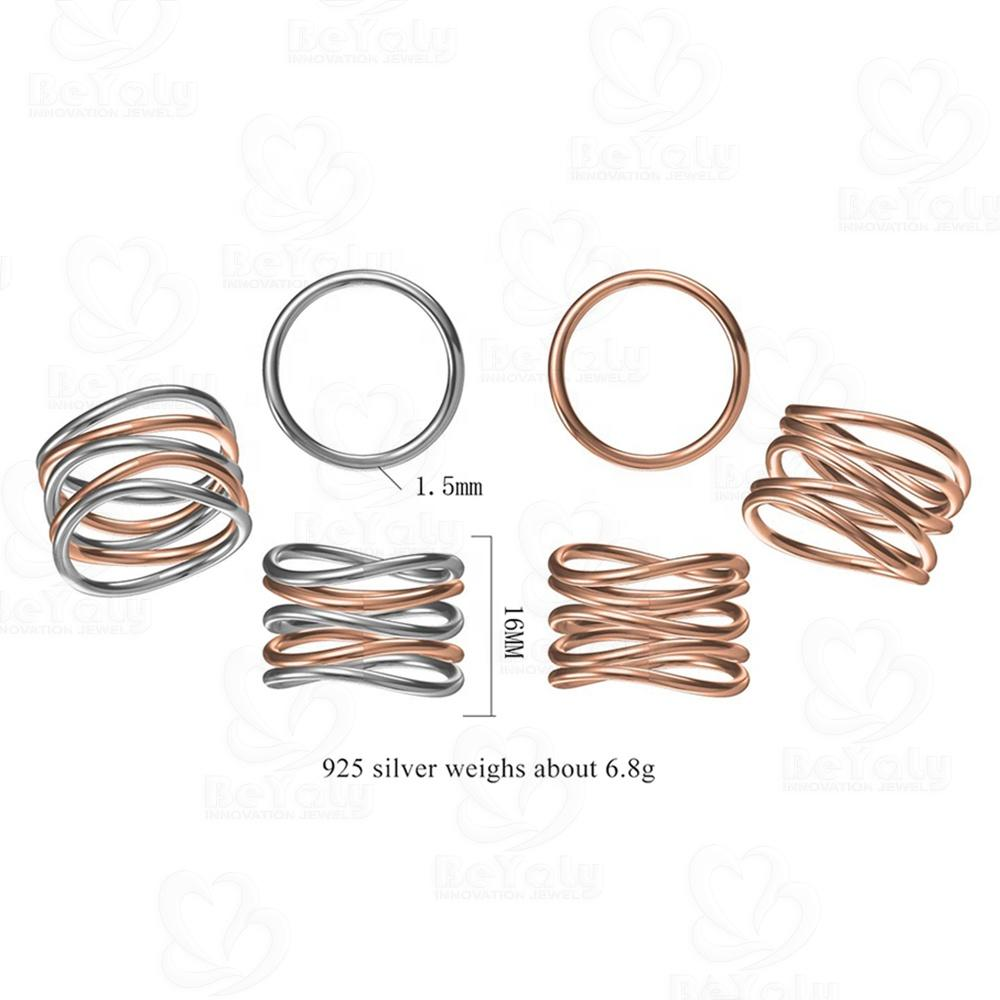 Beyaly CAD Custom Jewelry Hollow Multilayer Spiral Loop Ring Rose Gold Plated