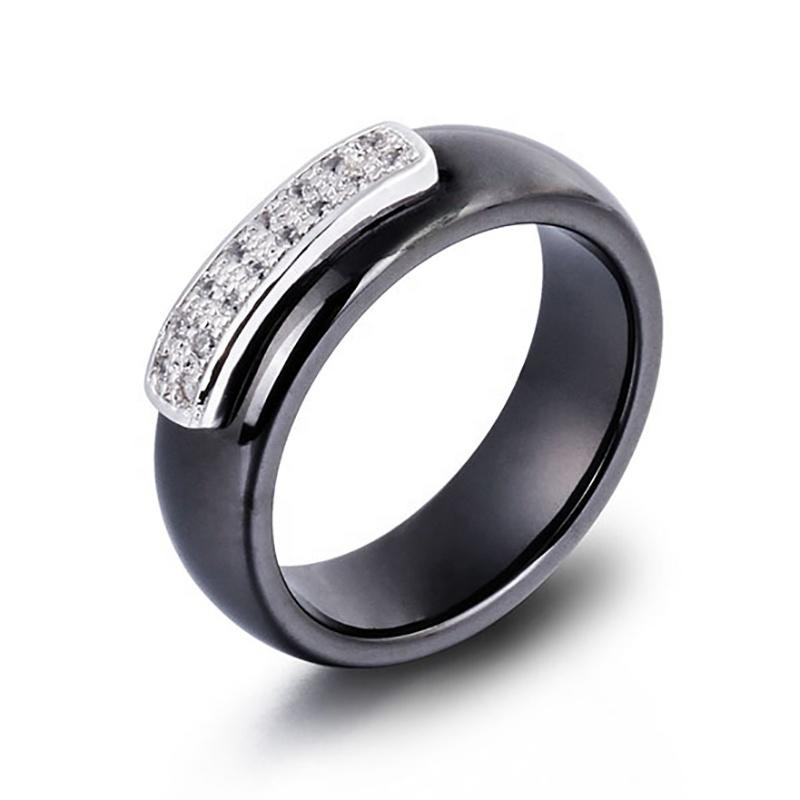 Hot Selling Chinese White And Black Ceramic Ring, Ladies Classic Stainless Steel Ring