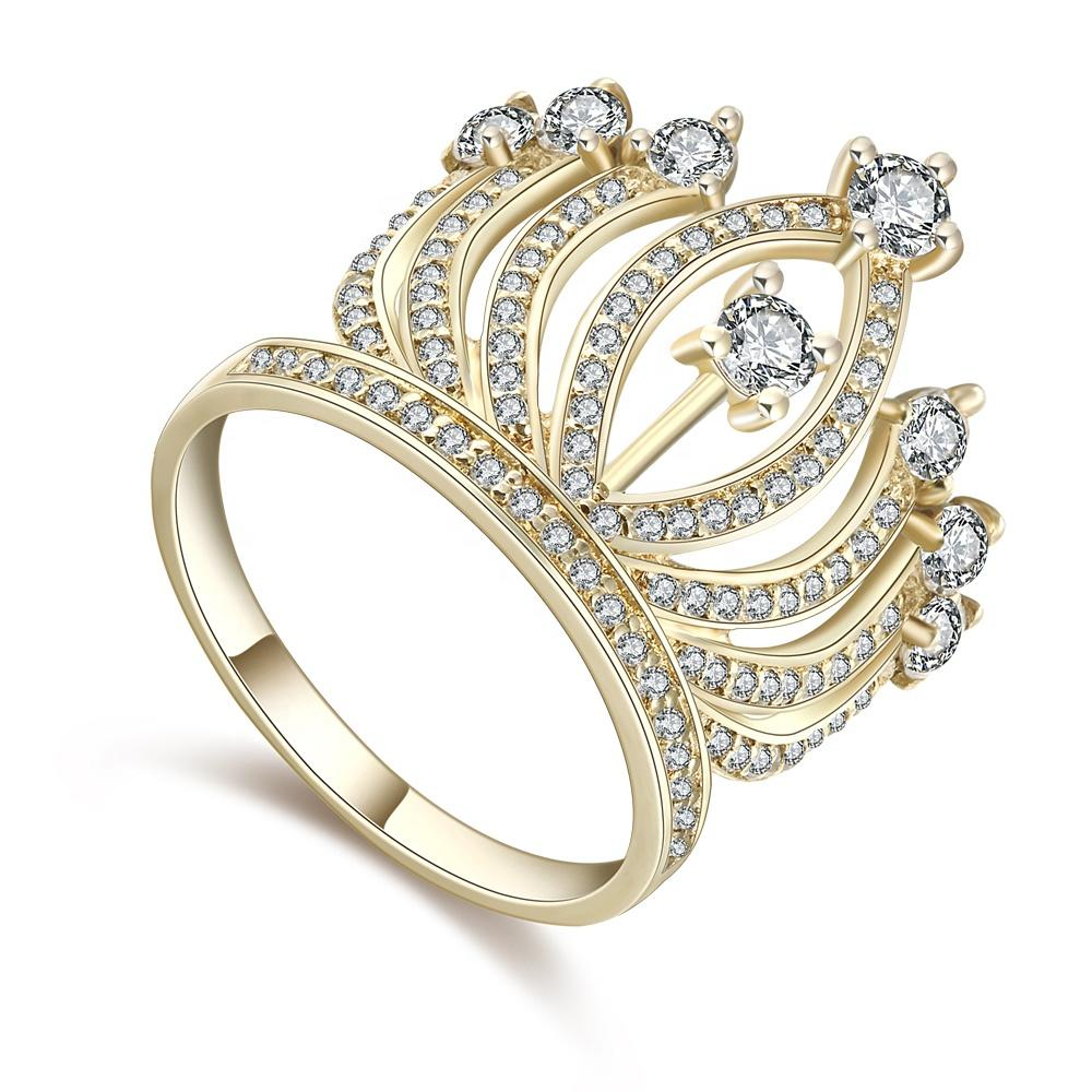 Fashion Beauty Cz Crown Silver Solid Gold Wedding Ring